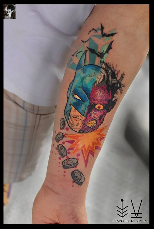BATMAN TWO FACE TATTOO | Two face tattoo, Tattoos, Face tattoo