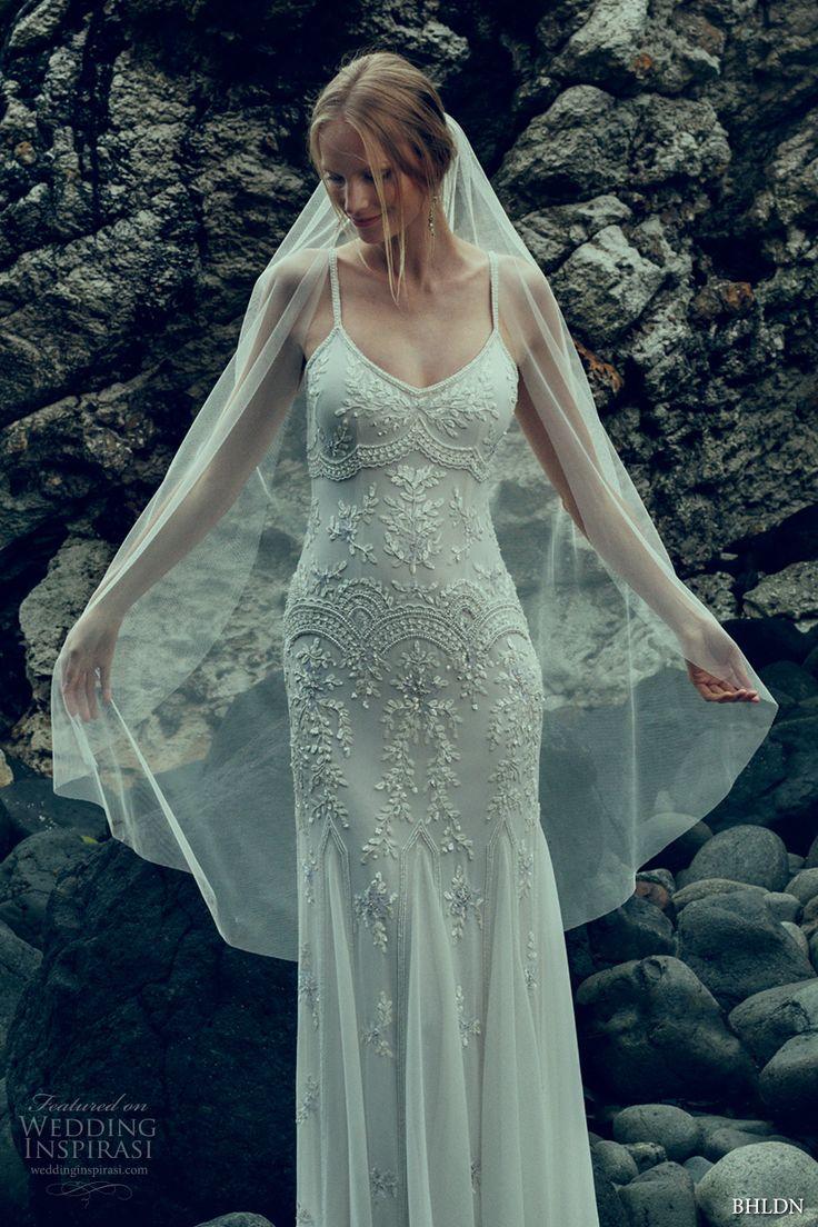 bhldn fall 2016 bridal spagetti strap scoop neckline lace embroidered fully embellishment bodice vintage art deco sheath wedding dress sweep train (naomi) zv