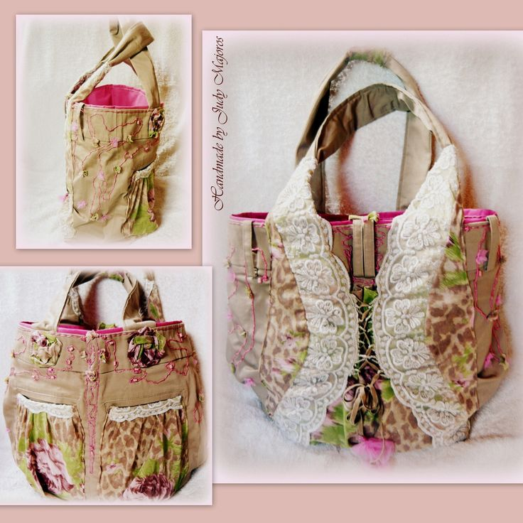 Handmade by Judy Majoros - Lace-tulle embroidered tote Bag. Recycled shoulder bag. Leopard-rose print.