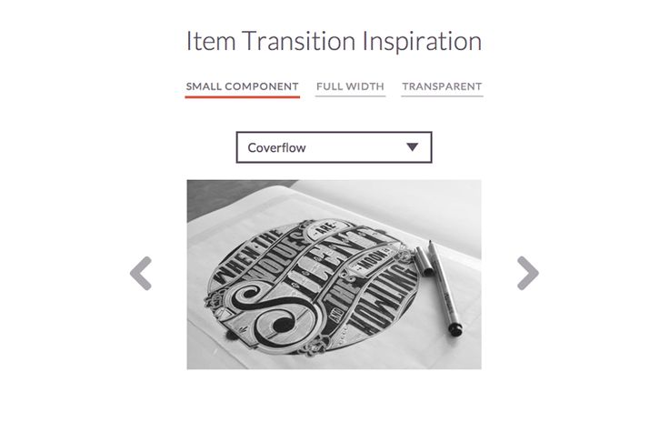 Some inspiration and ideas for item transitions considering different scenarios and use cases including a small component, a full-width image header and a product image with a transparent background. State transitions are done using CSS Animations.