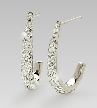 Dazzle and delight your special recipient with this incredible pair of earrings! Featuring 47 round-cut Swarovski Crystals on each earring set in stunning sterling silver, this pair will... More Details