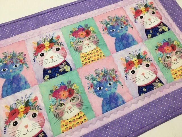 Quilted Table Runner Cat Quilted Table Topper Kitty Table Runner Cat Table Runner Quilted Dresser Scarf Cat Lover Gift Dresser Runner Quilted Table Runner Quilted Table Toppers Cat Quilt
