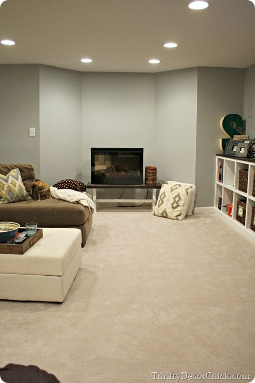 The Finished Basement   Main Wall Color: Marina Gray, Benjamin Moore    Lightened 25%. | Blogs     Thrifty Decor Chick | Pinterest | Wall Colors,  ...
