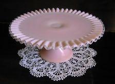 Fenton Rose PINK Glass Silver Crest Pedestal Cake Stand Plate