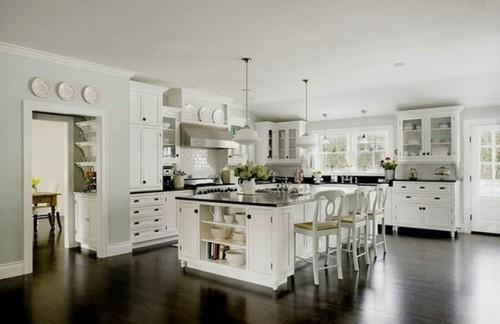 Kitchen: Kitchens Design, Dreams Kitchens, White Kitchens Cabinets, Kitchens Ideas, Dark Wood, Islands, Dark Countertops, White Cabinets, Black Counter