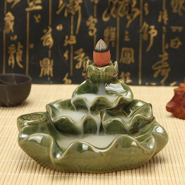 Refoulement En Céramique Brûleur D'encens Titulaire Vert Fleur Avec Encens Antique Artisanat Méditation D'ameublement de Bureau À Domicile Ornement