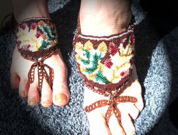 Barefoot beaded bead embroidered Indian Moccasin by HouseofTiswan, $70.00