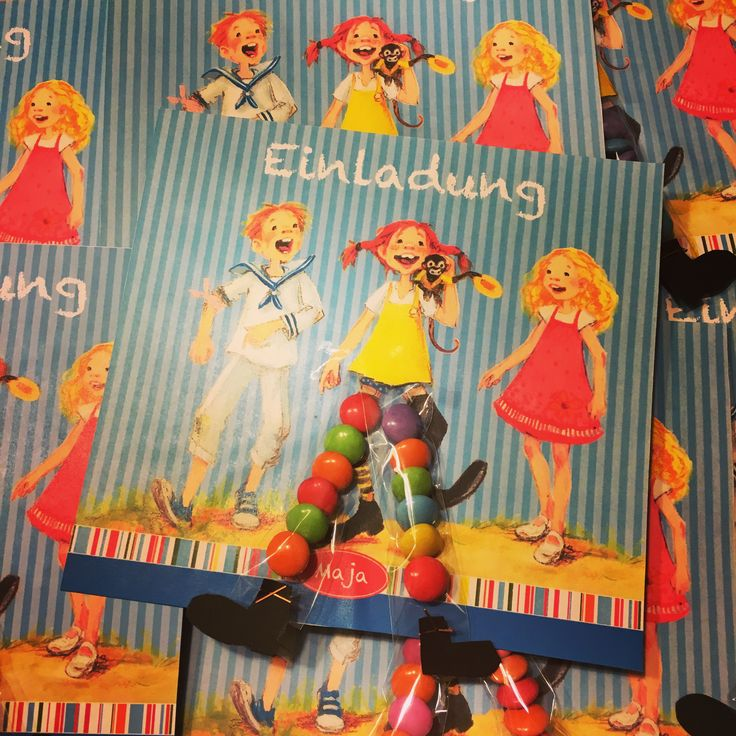 Einladungskarte Zur Pippi Langstrumpf Party Mit Smarties Ringelsocken