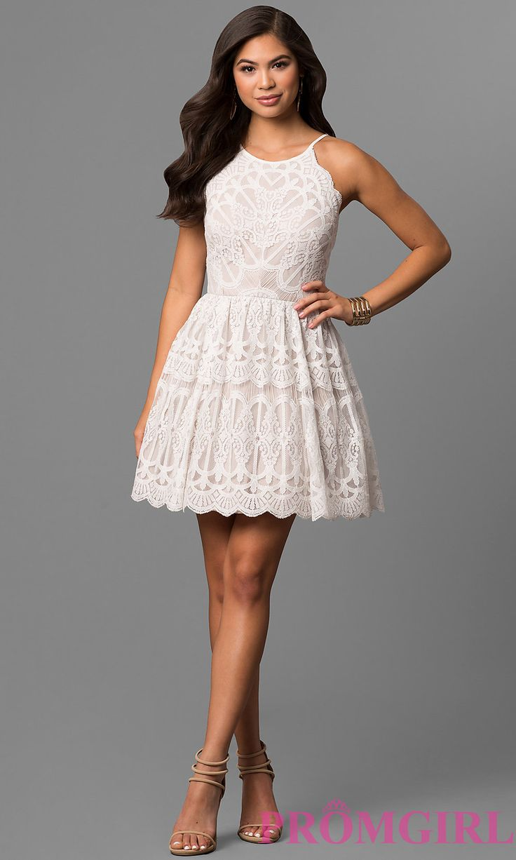 Silver pearl marisol white lace 1 - Image Of Ivory And Nude Short Lace Graduation Party Dress Style Dmo J316727