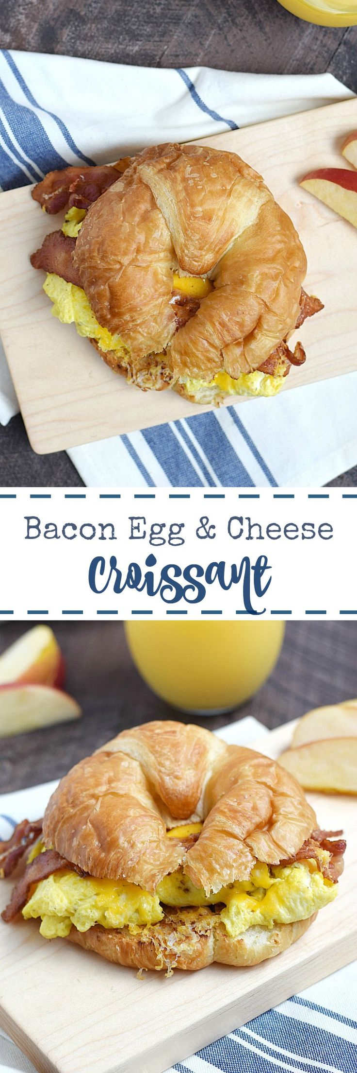 Everyone in the family will  love a Bacon Egg and Cheese Croissant for breakfast or dinner! They are simple to make at home and so delicious | cookingwithcurls.com