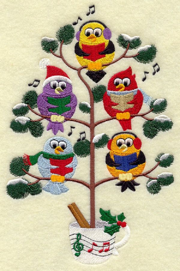 Christmas Caroling Birds in a Tree Tweet Embroidered by remimartin