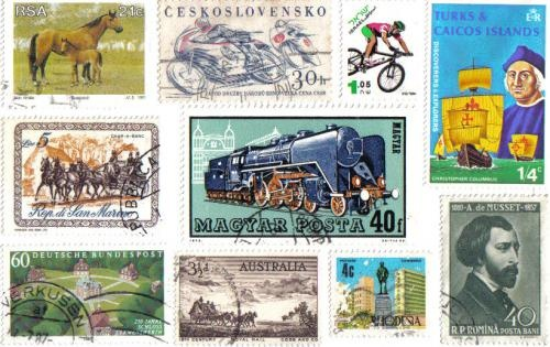 Random stamps used to create a postcard to send to a far away place . . .