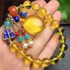[ $66 OFF ] Total Weight 17.8Grams Real Classic Natural Gold Ambers Beeswax With Natural Pearls And Lapis Bracelets Fine Jewelry For Women