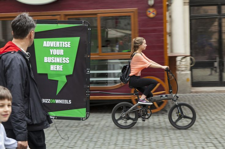 Advertising Bike Kit // Electric Folding Bike with AdBicy mobile billboard by BizzOnWheels
