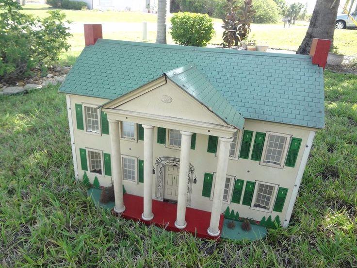 Rare Large Vtg Antique 40s Plantation Colonial Mansion
