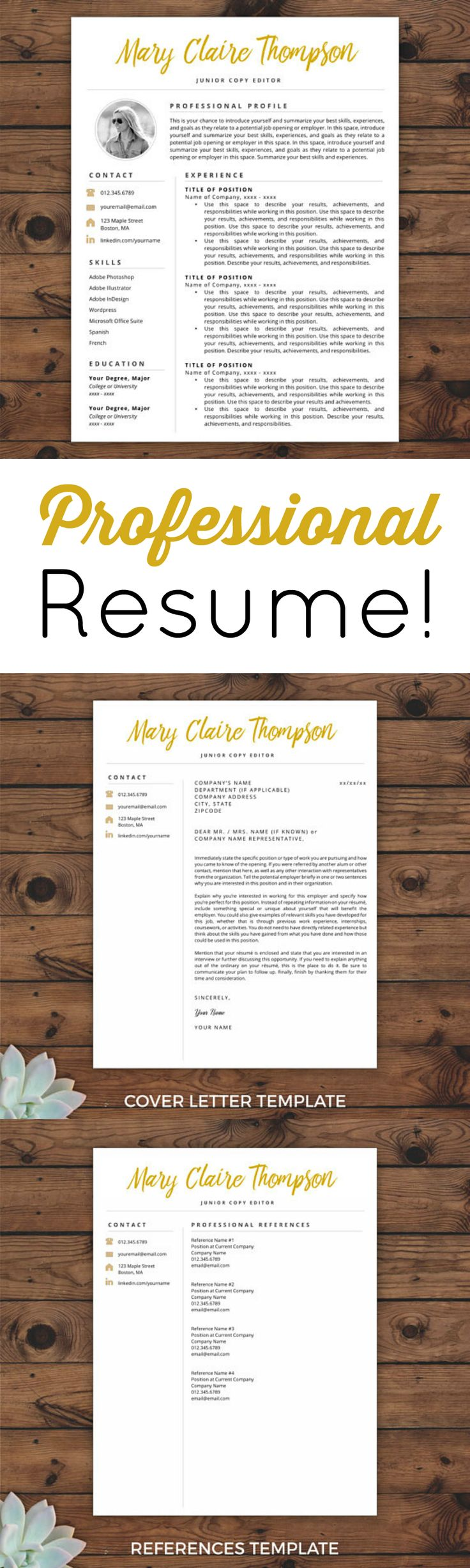 Love this stylish and professional resume set! Creative Resume Template | Resume with Photo | Instant Download Resume | Resume Icons | Resume Template Word & Pages | #ad