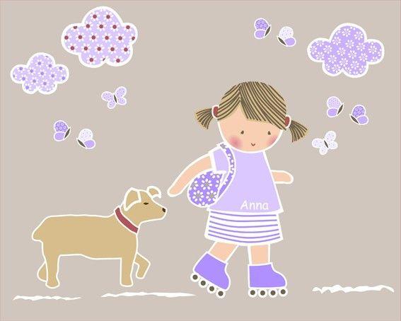 Vinilo infantil personalizable - Vinilo infantil personalizable. Tema: Niña patinando Esta colección se compone de: niña patinadora, perro, 3 nubes, 8 mariposas.  Altura niña: 54 cm