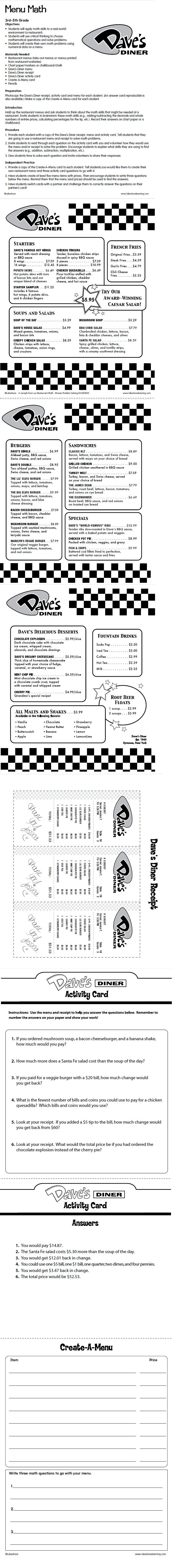Menu Math Lesson Plan from Lakeshore Learning