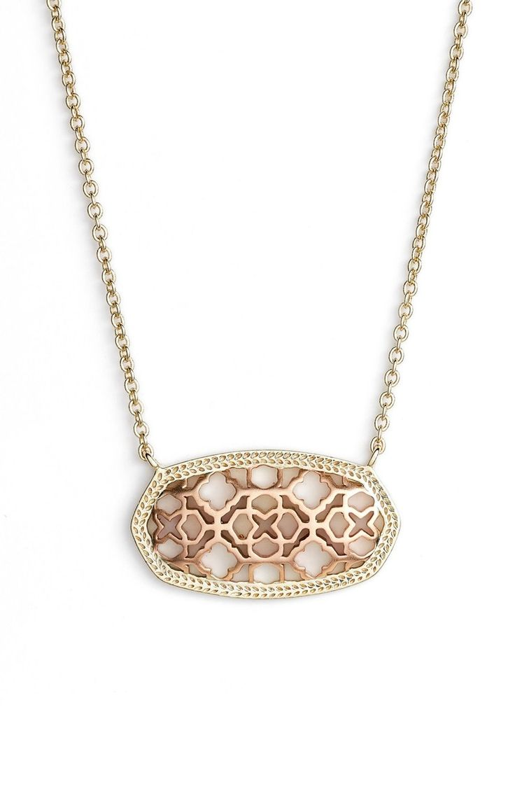 Loving this pendant necklace from Kendra Scott! The glistening openwork pendant will add a touch of elegance to any look.
