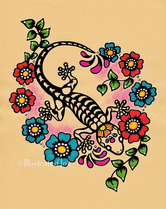 Day of the Dead GECKO Tattoo Art Print 8 x 10 by illustratedink