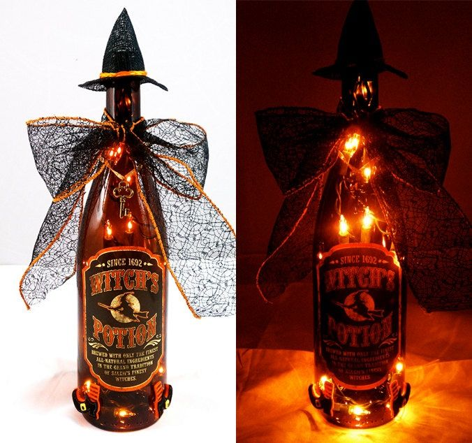 halloween alcohol bottle crafts | Witch Potion Bottles