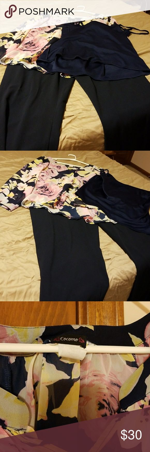 Sheer navy/pink tunic, cami, navy 16w dress pants DoCoMo sheer navy and pink tunic with navy cami and navy 16w dress pants. Nice outfit! Worn 2x. Dress pants are 16w Worthington stretch. Cocomo Tops Tunics