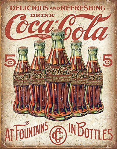 COKE - 5 Bottles Retro Tin Sign 13 x 16in