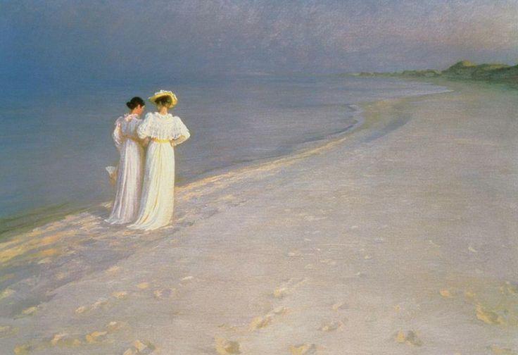 """""""Tarde de verano en la playa sur de Skagen con Anna Ancher y Marie Kroyer"""", Peder Severin Kroyer (1893)"""