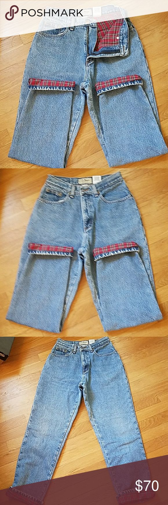 """L.L. Bean vintage flannel lined high waisted jeans Flannel lined jeans, wear cuffed or down, labeled 6 reg, hand measured waist of 27"""", 28.5"""" inseam, 100% cotton, 11"""" inseam L.L. Bean Jeans"""
