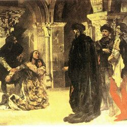 """(3) While Pedro was away from home, the King called his counsellors to a meeting, at the end of which he finally decided to send three of his courtiers to Coimbra, in order to kill Inês. She appeared surrounded by her children and appealed to the Dom Afonso IV. He left the room, saying to the counsellors: """"Do whatever you want"""". As soon as the King had turned his back, the sentence was carried out: Inês de Castro was executed."""