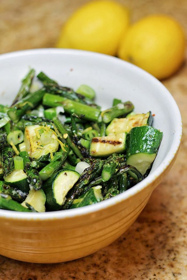 Grilled Asparagus and Zucchini Salad with a Lemon and Basil Vinaigrette from Audrey's Apron