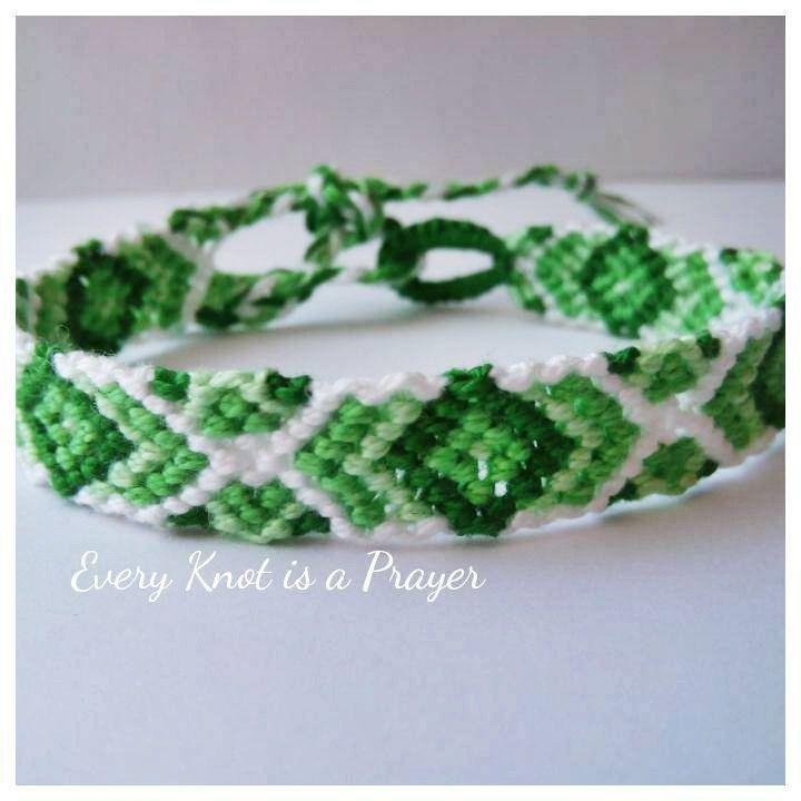 Green, Light Green, White degrade Macrame Knotted Friendship Bracelet Wristband - pinned by pin4etsy.com