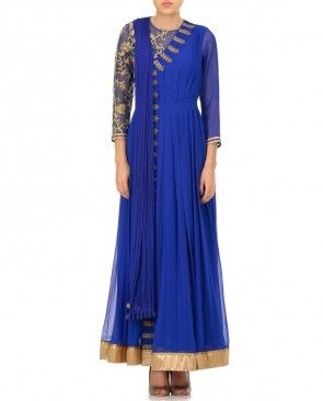 Cobalt Blue Suit with Golden Embroidery
