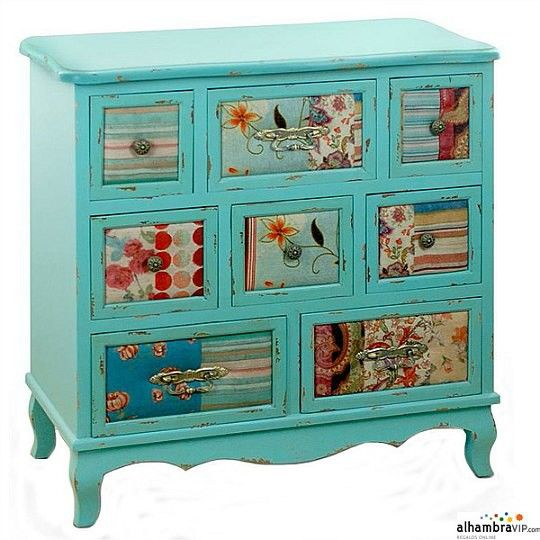 you could decoupage scrapbook papers on furniture like chest drawers