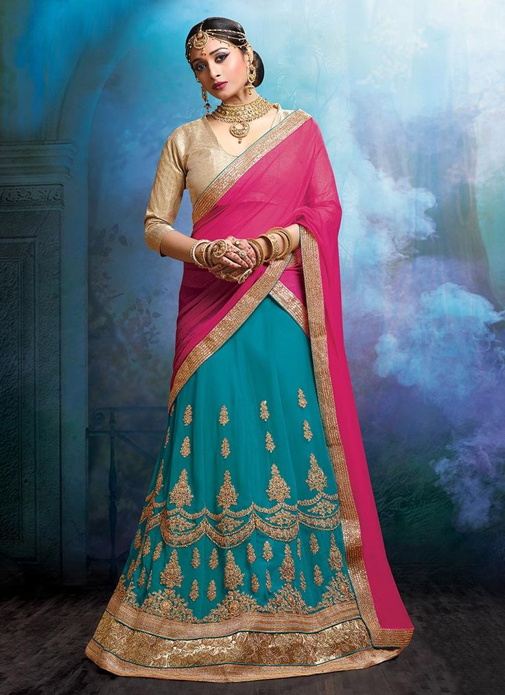 Buy Teal Blue Georgette A Line Lehenga Choli online from the wide collection of a-line-lehenga.  This Blue colored a-line-lehenga in Faux Georgette fabric goes well with any occasion. Shop online Designer a-line-lehenga from cbazaar at the lowest price.