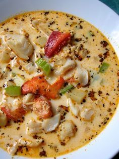 Seafood Chowder - this was a great recipe. I used half the amount of liquid as this was way to much soup for us. I used 1/2 large onion, 2 celery stalks, 2 potatoes, 1 package prawns, 1 can crab, 1 can whole baby clams, 8 large scallops cut into quarters, 0.5-1 lb halibut cut into cubes and some smoked salmon I had.