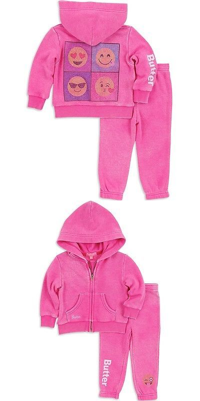 Other Newborn-5T Girls Clothes 147221: Butter Girls Sparkle Emoji Embellished Hoodie And Sweatpants Set -> BUY IT NOW ONLY: $68 on eBay!