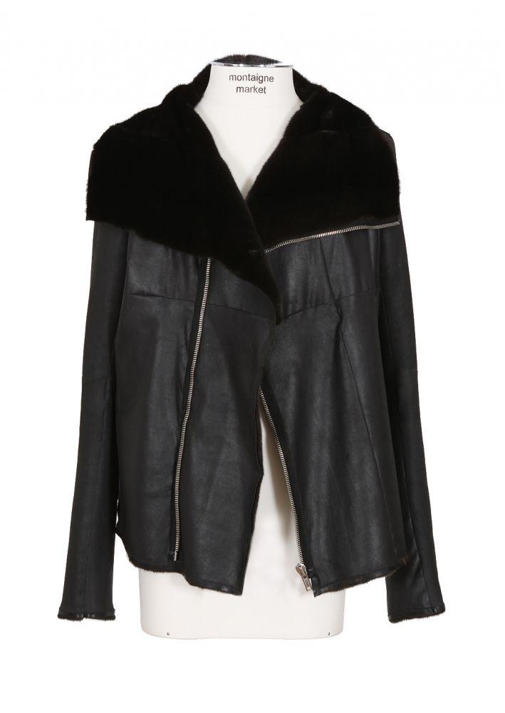 Rick Owens Jacket :: RIck Owens black mink biker jacket | Montaigne Market