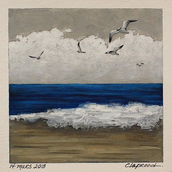 Original art, sea & clouds painting, seaside picture, seagulls and blue ocean wall art, 6x6 acrylic painting within an 11x14 inches mount