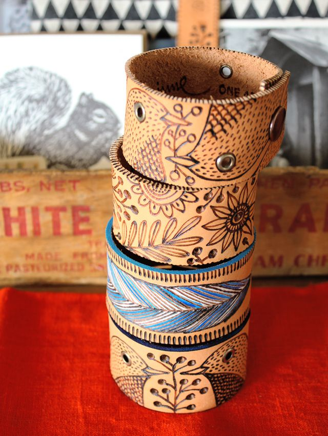 Pyrography on leather cuffs - would love to try.