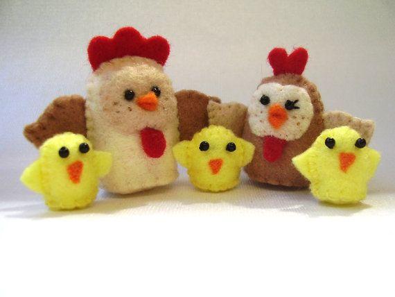 Felt Chicken Family tiny soft toys by RazzleDazzlebySally