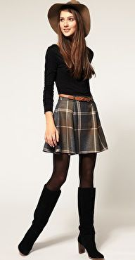 Asos plaid skirt with black boots