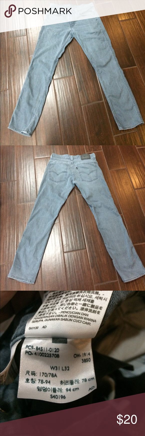 Men's Levi's Jeans 511 Size 31x32 EUC Men's Levi's Jeans 511 Size 31x32                       Light blue color                                                               No Rips, holes, stains, or distressing.                     Perfect overall condition                                         * Smoke & Pet Free Home Levi's Jeans
