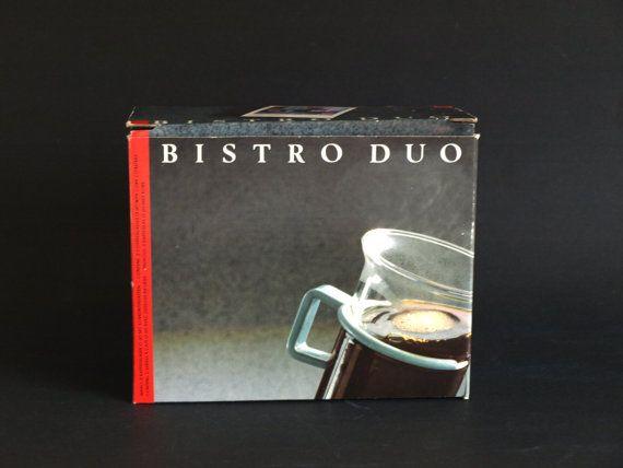 Bodum Bistro Duo Tall Glass Mugs White Handle  New by FunkyKoala
