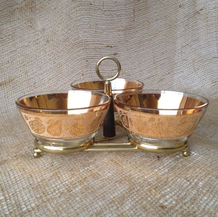 A personal favorite from my Etsy shop https://www.etsy.com/listing/264837988/vintage-culver-gold-fruit-condiment-set