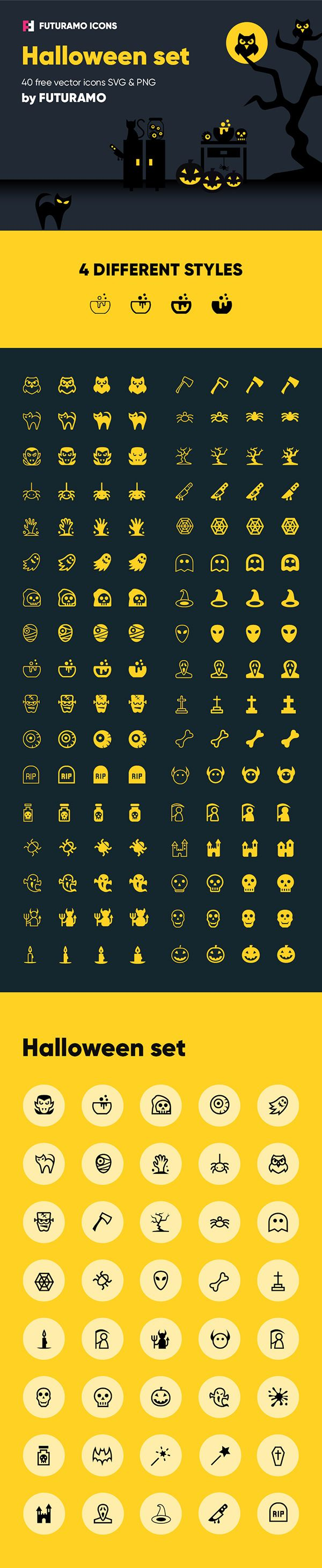 Treat yourself to this new set of 40 spooky Halloween icons and use them freely in your upcoming projects...