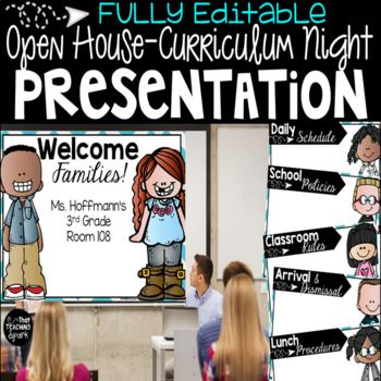 Be prepared for your Open House or Curriculum Night presentation with this professional PowerPoint!  All slides are editable and ready for you to customize! These cute kids are a mixture of cultures and carefully chosen to represent as many kiddos as possible.
