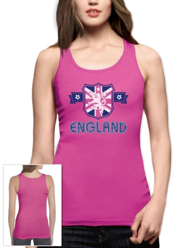 England Flag Crest Women Tank Top Uk National Team Soccer Football Worldcup 2015