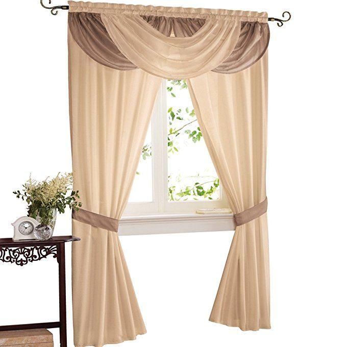 Amazon Com Elegant Patricia Rod Pocket Valance And 2 Panels With Tieback Window Curtain Set Burgundy Kitchen Amp Din Curtains Window Curtains Curtain Sets