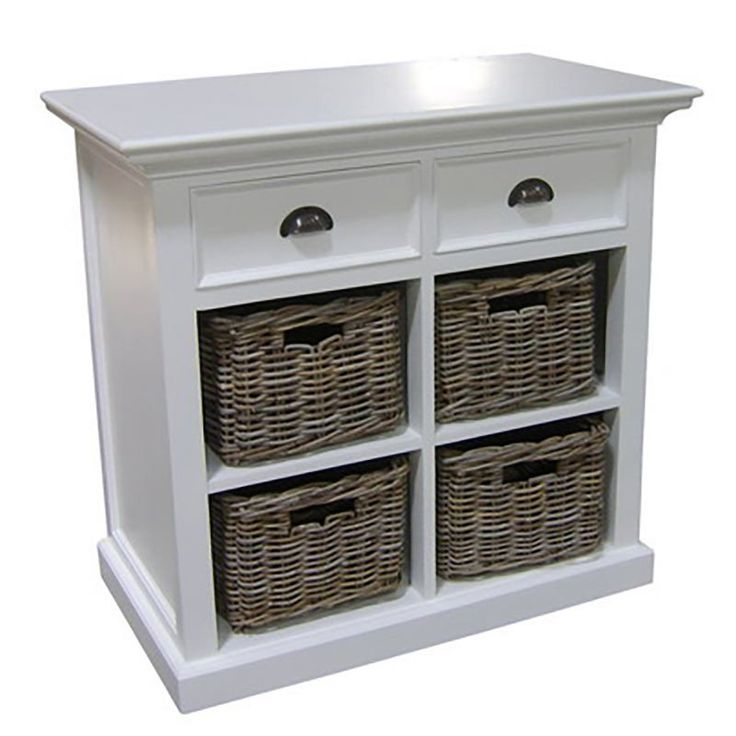 Whitehaven Mahogany Small Sideboard With 4 Rattan Baskets
